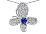 Star K™ Butterfly Pendant Necklace With Round Created Sapphire style: 306378