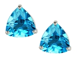 Original Star K Trillion 7mm Genuine Blue Topaz Earring Studs