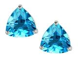 Original Star K™ Trillion 7mm Genuine Blue Topaz Earrings Studs style: 306381