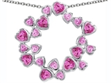 Original Star K™ Large Circle of Love Pendant with 20 Created Pink Sapphire Hearts style: 306382