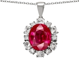 Original Star K Oval 12x10mm Created Ruby Pendant