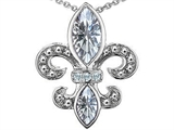 Original Star K Genuine White Topaz Fleur De Lis Pendant
