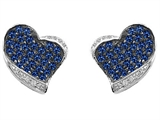 Original Star K Heart Shape Love Earrings With Created Sapphire