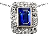 Original Star K™ Emerald Cut Created Sapphire Pendant style: 306390