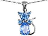 Original Star K Cat Pendant With Simulated Aquamarine