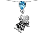 Original Star K™ Little Girl Holding a Balloon Mother Birthstone 9x7mm Pear Shape Genuine Blue Topaz Pendant