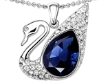 Original Star K™ Love Swan Pendant With Pear Shape Created Sapphire style: 306406