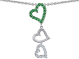 Original Star K Dangling Heart with Round Simulated Emerald Pendant