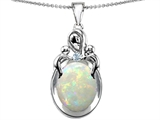 Original Star K™ Loving Mother With Children Pendant With 11x9mm Oval Created Opal style: 306415