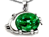 Original Star K Lucky Pig Pendant With Large Oval Simulated Emerald 12x10mm
