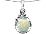 Original Star K Loving Mother With Child Family Pendant With Round 10mm Created Opal