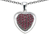 Star K™ Heart Shape Love Pendant Necklace with Created Ruby style: 306419