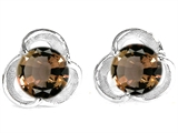 Original Star K™ Round Genuine Smoky Quartz Flower Earrings Studs style: 306420