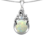Original Star K™ Large Loving Mother With Children Pendant With Round 10mm Simulated Opal style: 306422