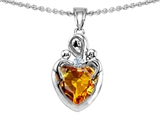 Original Star K™ Loving Mother With Children Pendant With 8mm Heart Shape Genuine Citrine