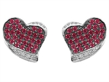 Original Star K Heart Shape Love Earrings With Created Ruby
