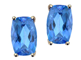 Tommaso Design Checkerboard Cushion Cut Genuine Blue Topaz Earring Studs