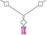 Original Star K™ Emerald Cut Created Pink Sapphire Necklace