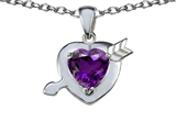 Original Star K™ Heart with Arrow Love Pendant with Genuine Amethyst