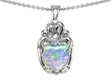 Original Star K™ Loving Mother And Hugging Family Pendant With Heart Shape 8mm Created Opal
