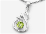 Original Star K Round Genuine Peridot Swan Pendant
