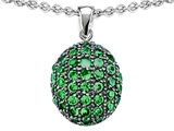 Star K™ Oval Puffed Pendant Necklace with Simulated Emerald style: 306445
