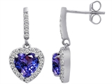 Original Star K 6mm Heart Shape Simulated Tanzanite Dangling Heart Earrings