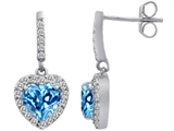 Original Star K™ 6mm Heart Shape Simulated Blue Topaz Dangling Heart Earrings