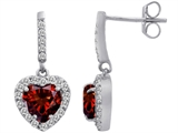 Star K™ 6mm Heart Shape Simulated Garnet Hanging Halo Heart Earrings style: 306452