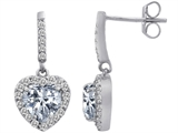 Star K™ 6mm Heart Shape Genuine White Topaz Hanging Halo Heart Earrings style: 306453