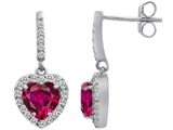 Star K™ 6mm Heart Shape Created Ruby Hanging Halo Heart Earrings style: 306456