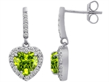 Star K™ 6mm Heart Shape Simulated Peridot and Cubic Zirconia Hanging Halo Heart Earrings style: 306457