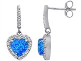 Star K™ 6mm Heart Shape Blue Created Opal Hanging Halo Heart Earrings style: 306458