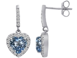 Star K™ 6mm Heart Shape Simulated Aquamarine Hanging Halo Heart Earrings style: 306459