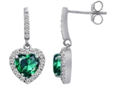 Original Star K 6mm Heart Shape Simulated Emerald Dangling Heart Earrings