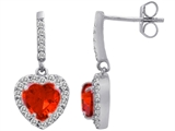 Star K™ 6mm Heart Shape Simulated Mexican Orange Fire Opal Hanging Halo Heart Earrings style: 306461