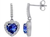 Original Star K 6mm Heart Shape Created Sapphire Dangling Heart Earrings