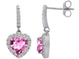 Star K™ 6mm Heart Shape Created Pink Sapphire Hanging Halo Heart Earrings style: 306463