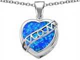 Original Star K™ Large Love Mom Mother Pendant with 15mm Heart Shape Created Blue Opal