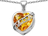 Star K™ Large Love Mom Mother Pendant Necklace with 15mm Heart Shape Simulated Citrine style: 306466