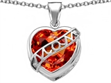 Star K™ Large Love Mom Mother Pendant Necklace with 15mm Heart Shape Simulated Mexican Orange Fire Opal style: 306468