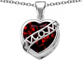 Original Star K™ Large Love Mom Mother Pendant with 15mm Heart Shape Simulated Garnet