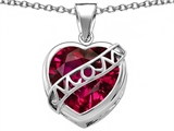 Original Star K™ Large Love Mom Mother Pendant with 15mm Heart Shape Created Ruby style: 306473