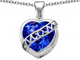 Star K™ Large Love Mom Mother Pendant Necklace with 15mm Heart Shape Simulated Sapphire style: 306474