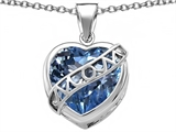 Original Star K™ Large Love Mom Mother Pendant with 15mm Heart Shape Simulated Aquamarine
