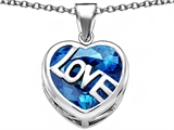 Original Star K Large Love Heart Pendant with 15mm Heart Shape Simulated Blue Topaz
