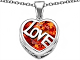Original Star K Large Love Heart Pendant with 15mm Heart Shape Simulated Mexican Orange Fire Opal