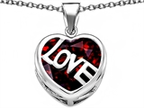 Original Star K Large Love Heart Pendant with 15mm Heart Shape Simulated Garnet