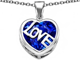Star K™ Large Love Heart Pendant Necklace with 15mm Heart Shape Created Sapphire style: 306488