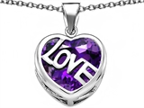 Star K™ Large Love Heart Pendant Necklace with 15mm Heart Shape Simulated Amethyst style: 306490